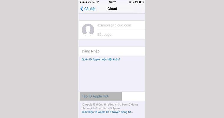 """Chúng ta nhấn vào """"Tạo ID Apple mới"""""""