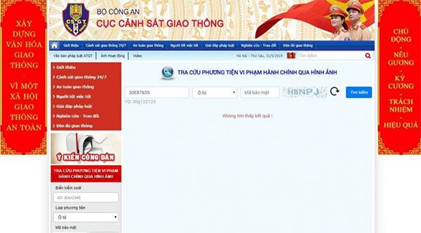 Cách tra cứu phạt nguội trên website của cục Cảnh sát giao thông (1)