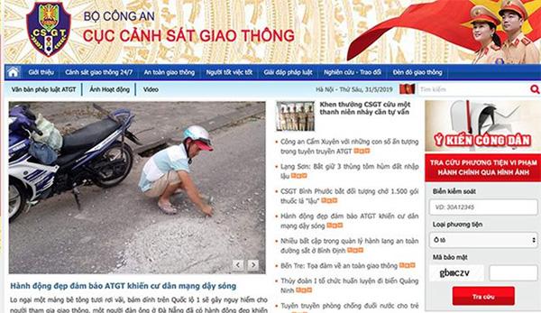 Cách tra cứu phạt nguội trên website của cục Cảnh sát giao thông